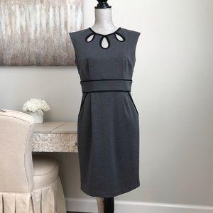 Sandra Darren Grey Black Trim Pocket Sheath Dress